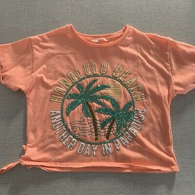 Matalan Candy Couture Girls Coral Sequin Top - Age 11 Years - Excellent Cond.