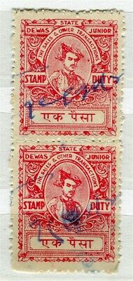 INDIA; STATE DEWAS early 1900s local Stamp Duty Revenue issue fine used pair