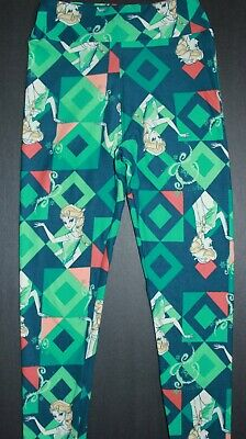 LuLaRoe Leggings Disney TWEEN ELSA Frozen PRINCESS Teal Blue Diamond Snow