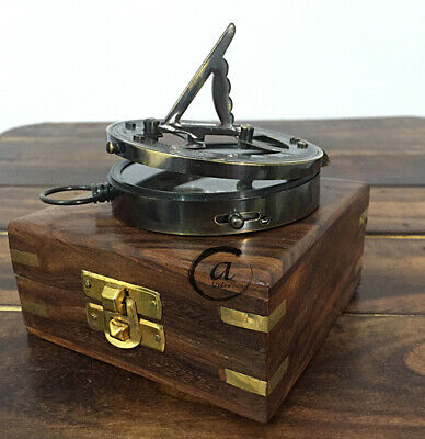 Valentine Brass Astrolabe Sextant Compass Pocket Maritime Wooden Box With Nau