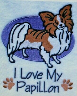 Love My Papillon Dog Embroidered Personalized Tee Shirt ALL SIZES