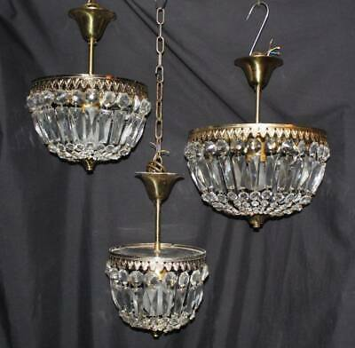 3  Vintage French Chandeliers Glass Bag Ceiling Lights (Jl20R)