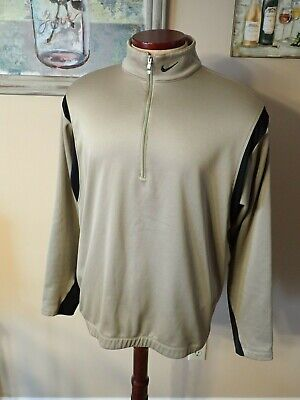 NIKE Therma-Fit L/S 1/2 Zip Pullover Cover-Up GOLF JACKET Gold/Blk