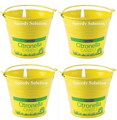 4x Chatsworth Citronella Metal Bucket Candle Insect repellant Deterrent Home