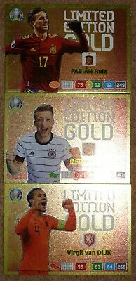 Panini Adrenalyn Xl Uefa Euro 2020 - All Three Limited Edition Gold Cards
