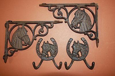 (8) Set Of 8 Vintage-Look Horse Shelf Brackets, Corbels, Rustic Americana Decor