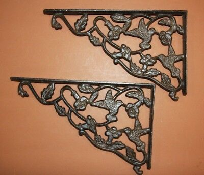 (2) Antique-look Hummingbird Shelf Brackets Large Size 11 7/8 inches, B-40