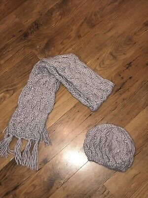 Next Girl Grey Knitted Hat And Scarf Set Age 7 - 10 Years