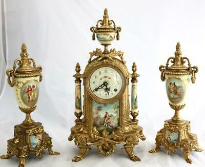 Beautiful German Embossed brass Franz Hermle Mantle Clock Garniture Set
