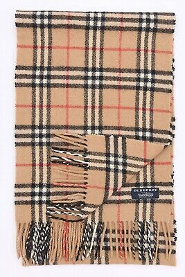 Genuine Burberry 100% Lambswool Beige Check Vintage Scarf Made In England