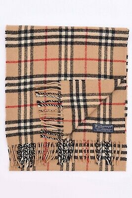 Genuine Burberrys 100% Lambswool Beige Check Vintage Scarf Made In England