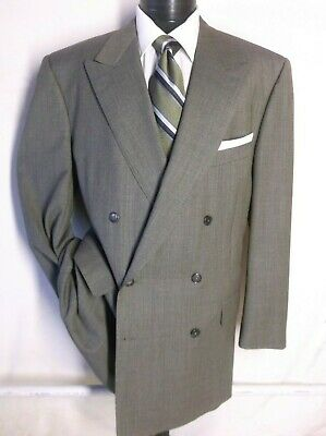 Neiman Marcus ERMENEGILDO ZEGNA light Green Double Breast Plaid Suit Jacket 48R