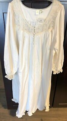 VICTORIAS SECRET Prairie Gown Nightgown Cotton Lace Cream 80's Vintage Small New
