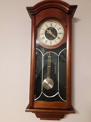 Vintage Seiko Wooden Wall Clock, Cut Glass Front, With Pendulum & Chimes