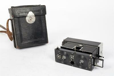 """Vintage ~ c1920 ~ """"ICA ~ Polyscop"""" Stereo Camera with Case                  #420"""