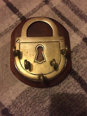 Vintage Antique Solid Brass Wall Mounted Lock Shaped Key Holder On Wooden plaqu
