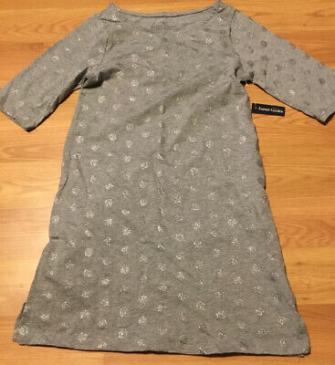 Faded Glory Girls Size 10/12 Gray Glitter Dot Tunic NWT