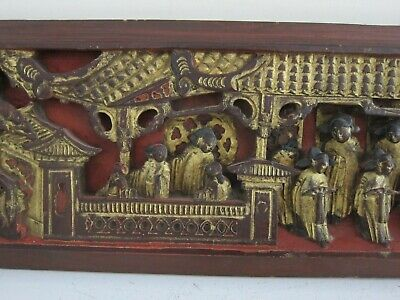 Antique Chinese Temple Hand Carved Gilt Detail Wood Relief Wall Sculpture 6x48
