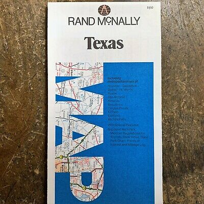 Vintage 1980 Census TEXAS Folded RAND MCNALLY State Road Travel Atlas MAP TX