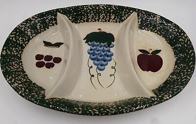 "VTG Three Compartment PLATTER Serving Tray Ceramic,Painted Fruit - 15.5"" x 11"""