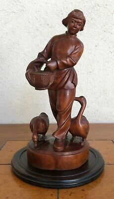 Antique Chinese Huangyang (Boxwood) Carved Figure Of A Woman Feeding Geese.
