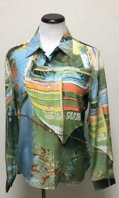 Nicole Taylor Women's Multi-Colored Silk Blouse Button Up NEW NWT Size Medium