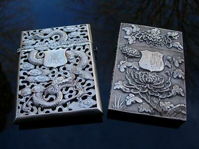 Two Beautiful Antique Chinese Solid Silver Card Cases