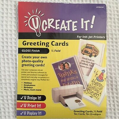U Create It Greeting Cards for Inkjet Printers Gloss Finish Paper Ten Cards/Env