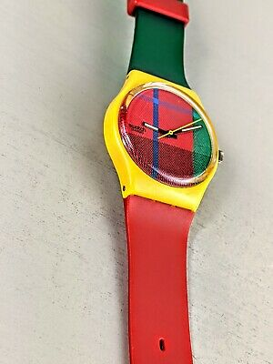 Vintage Swiss swatch watch McGregor plaid mens red green yellow WORKS
