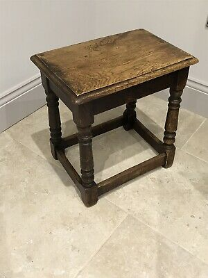 Carved Solid Oak Peg Joint Stool On Turned Legs. Lovely Grain