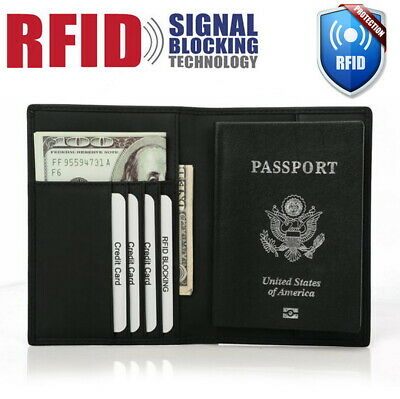 RFID Blocking Passport Holder Wallet Genuine Leather Travel ID Card Cover Case