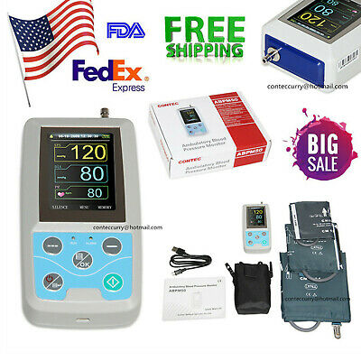 FDA Ambulatory Blood Pressure Patient Monitor 24h NIBP ABPM50 3Cuffs PC Software