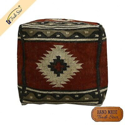 Authentic Handwoven Kilim Jute Ottoman Pouf Cover Antique Footstool Pouf Case