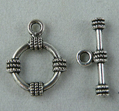 14//42 Sets Tibetan Silver Toggle Clasps Connectors Charms Jewelry Making