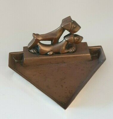 Art deco brass terrier dog pin / coin tray dish