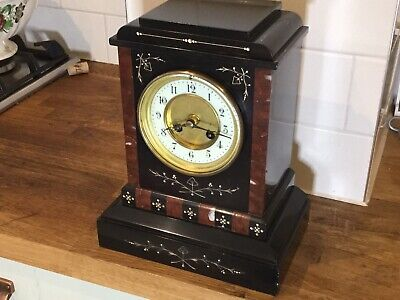 French Rouge Marble/ Slate Mantle Clock Circa 1870--