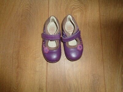 Infant Girls Purple Leather Clarks Mary Jane Shoes Size 4.5F
