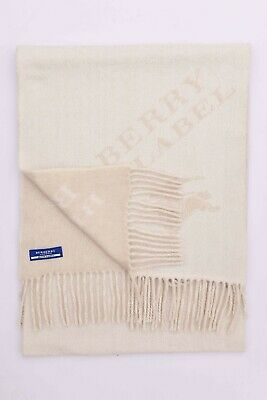 Genuine Burberry Pure Cashmere Off White Plain Vintage Scarf Made In England