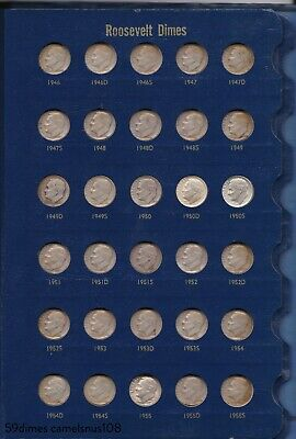 COMPLETE book of 59 Roosevelt Silver Dimes All Years & Mints between 1946 - 1971