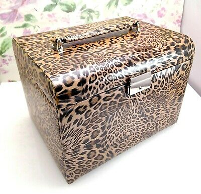Large Leopard Animal Print Jewellery Box Carry Case with Handle