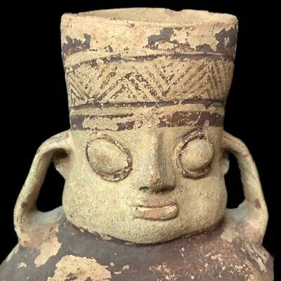 Rare Ancient Pre Columbian Zoomorphic Vessel With Intact Double Handle 1200 B.c.