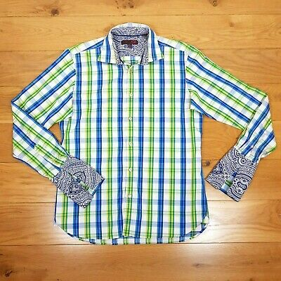 "TED BAKER LONDON Cotton Shirt 16"" Blue Green Check Double Contrast Cuff Summer"
