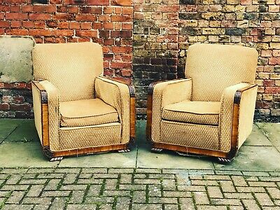 Art Deco Walnut And Upholstered Armchairs