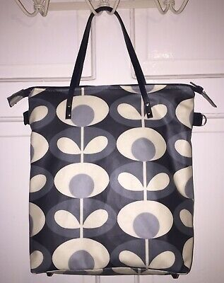 Handmade Orla Kiely Oval Flower Oilcloth Tote Leather Trim Messenger Bag