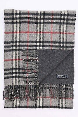 Genuine Burberrys 100% Cashmere Grey Check Vintage Scarf Made In England