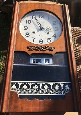 Vintage Acctim Wooden Wall Clock Untested