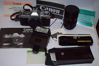 Canon At-1 Very Clean Camera With Lens Flash And Winder All Mint With Papers