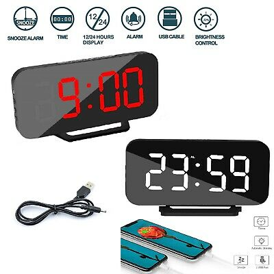 Alarm Clock LED Snooze Backlight Digital Desk Time Thermometer Date Mirror Home