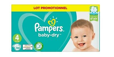 Pack de 100 Couches Pampers baby-dry Taille 4 de 9 à 14 kg     -468587