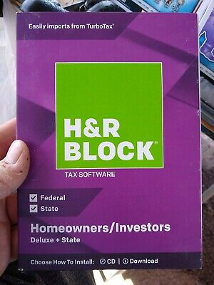 H&R BLOCK Deluxe Federal + State 2018 Homeowners Investors Tax Software New